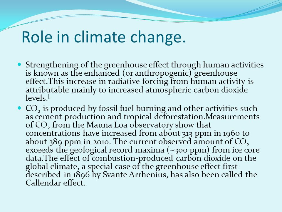 Role in climate change.