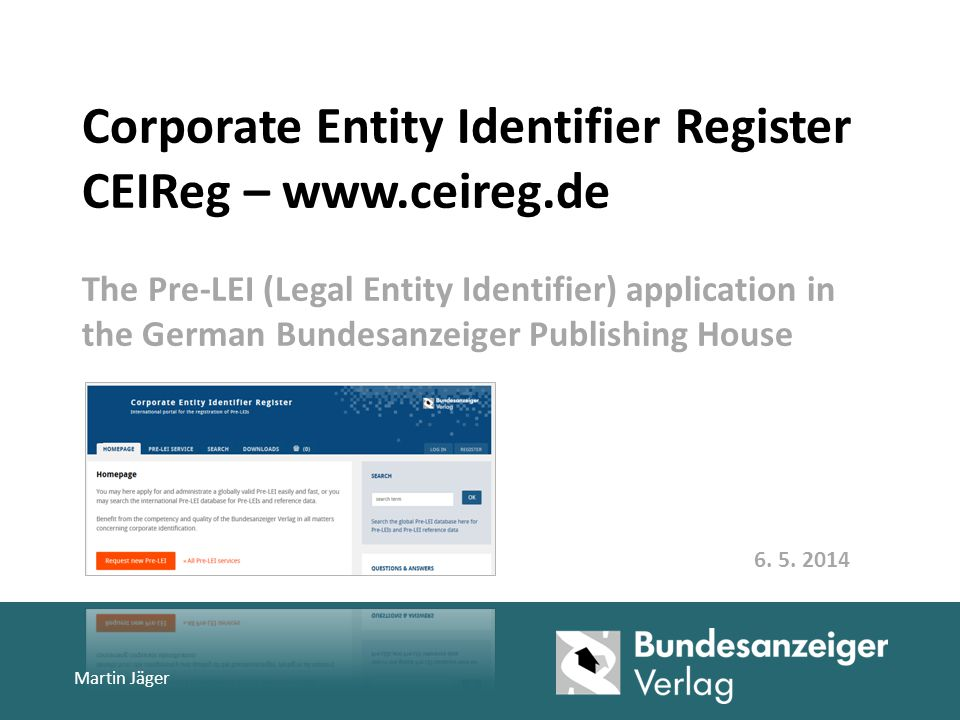 Corporate Entity Identifier Register CEIReg – www. ceireg