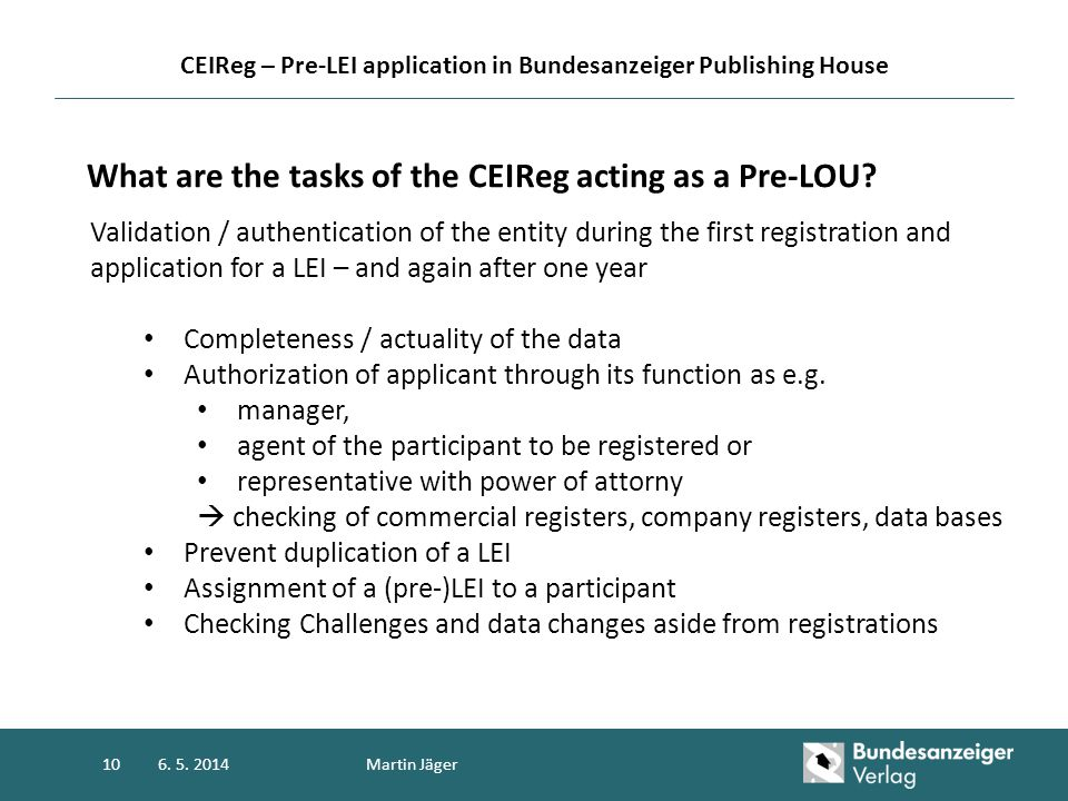 CEIReg – Pre-LEI application in Bundesanzeiger Publishing House