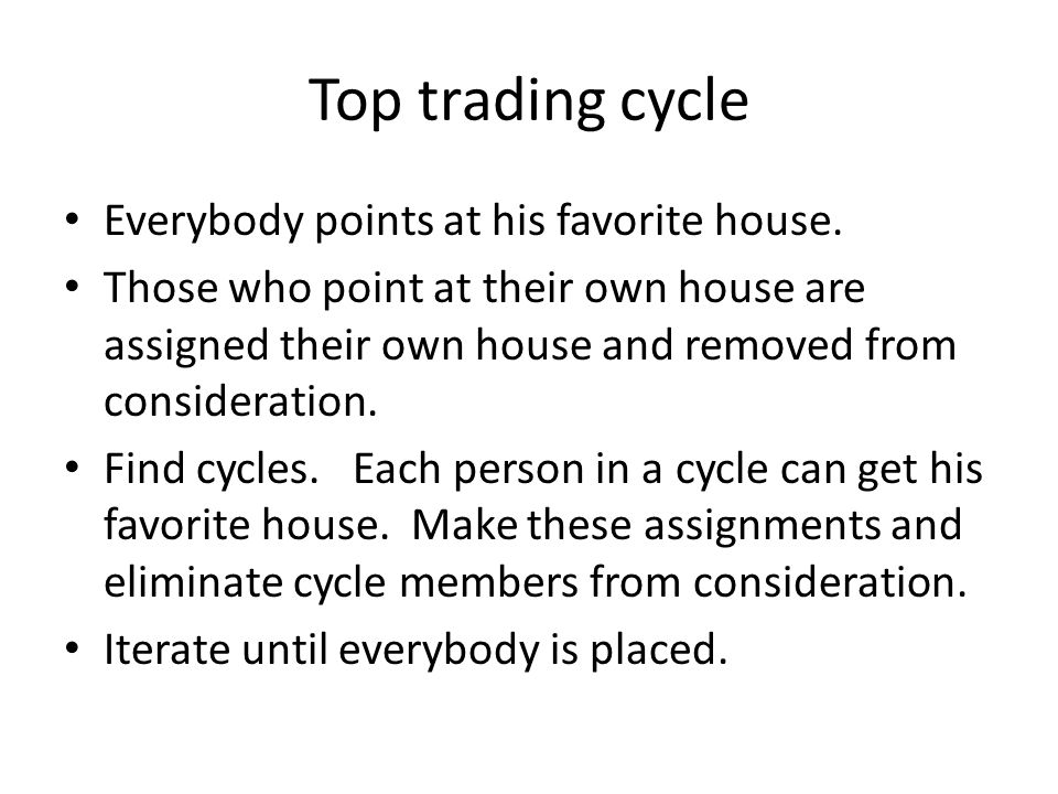 Top trading cycle Everybody points at his favorite house.