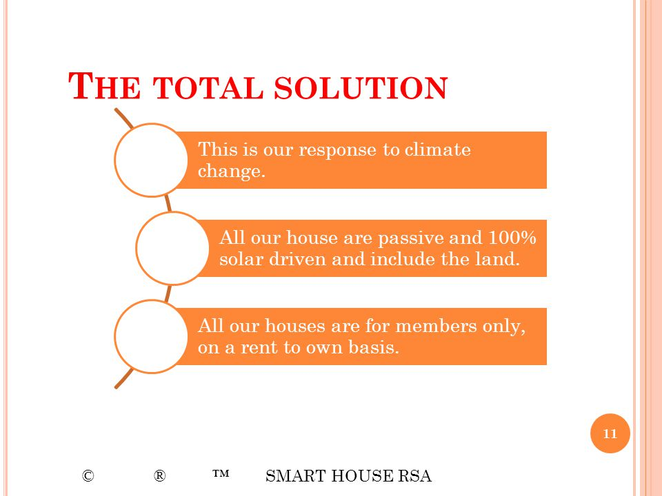 The total solution © ® ™ SMART HOUSE RSA