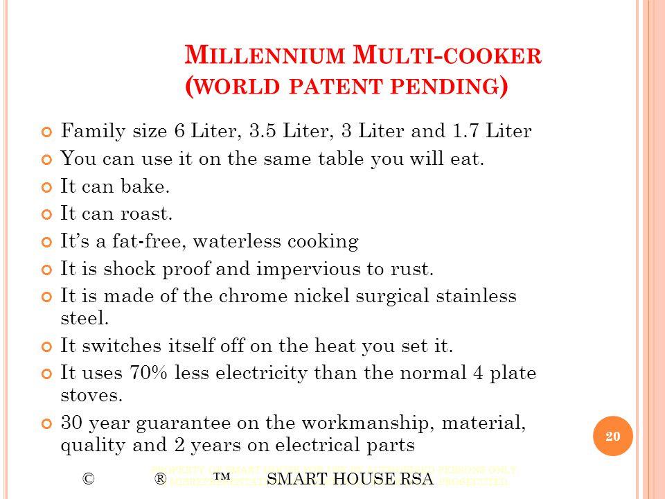 Millennium Multi-cooker (world patent pending)