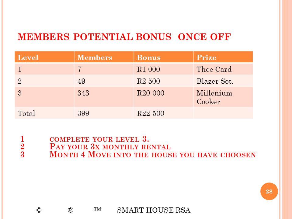 members potential bonus once off