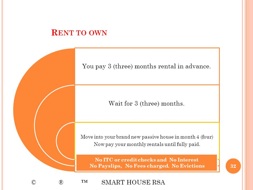 Rent to own You pay 3 (three) months rental in advance.