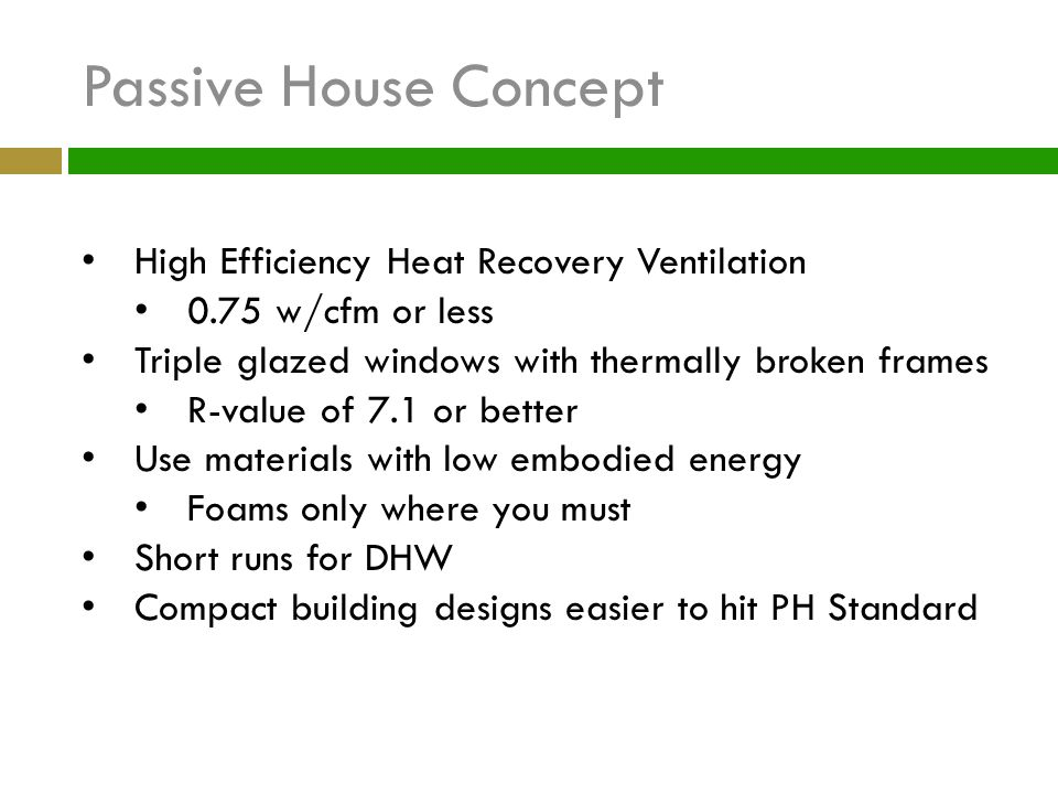 Passive House Concept High Efficiency Heat Recovery Ventilation