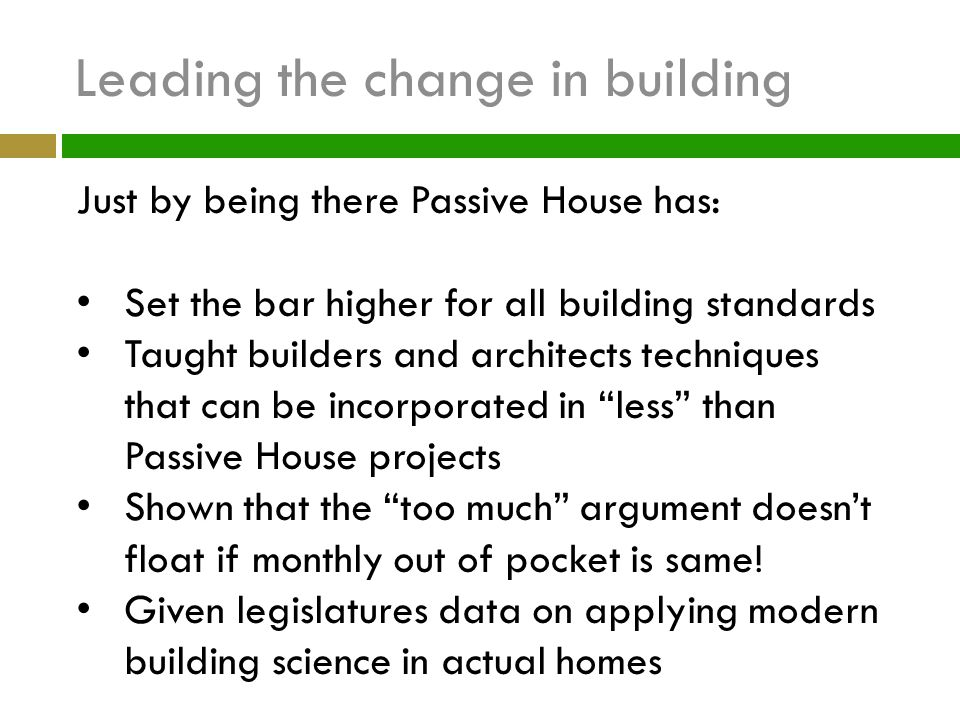 Leading the change in building