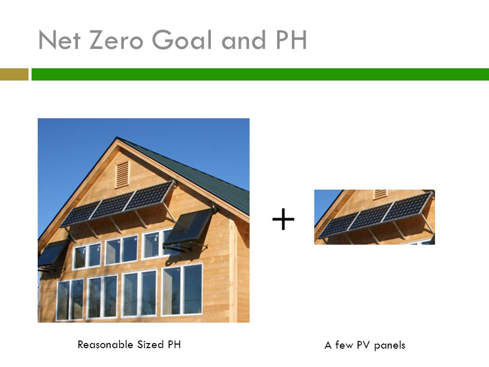 Net Zero Goal and PH + Reasonable Sized PH A few PV panels