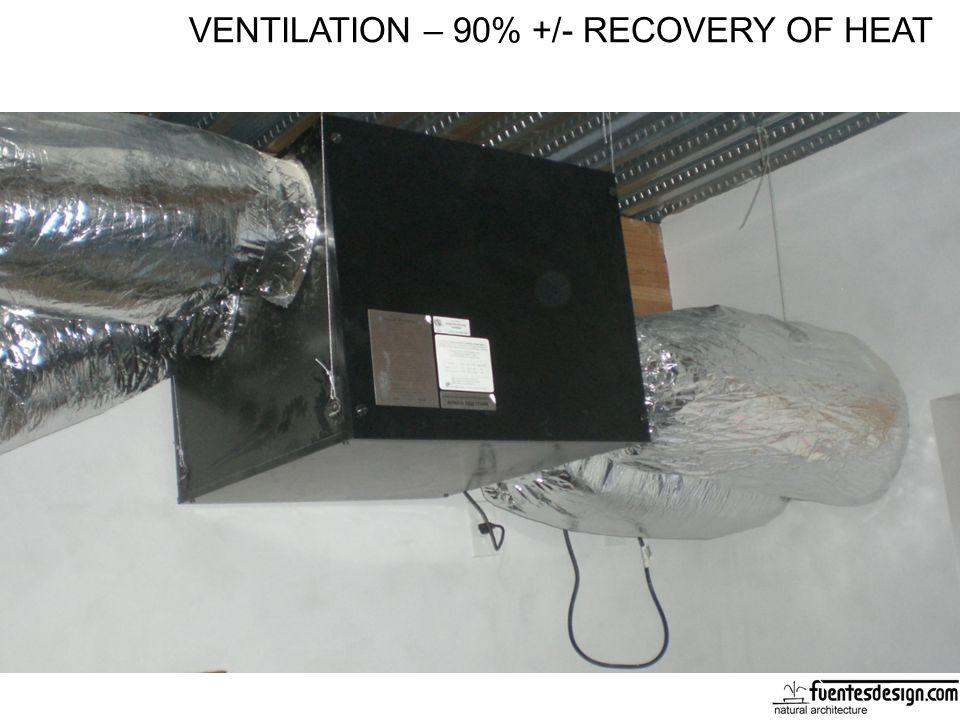 VENTILATION – 90% +/- RECOVERY OF HEAT