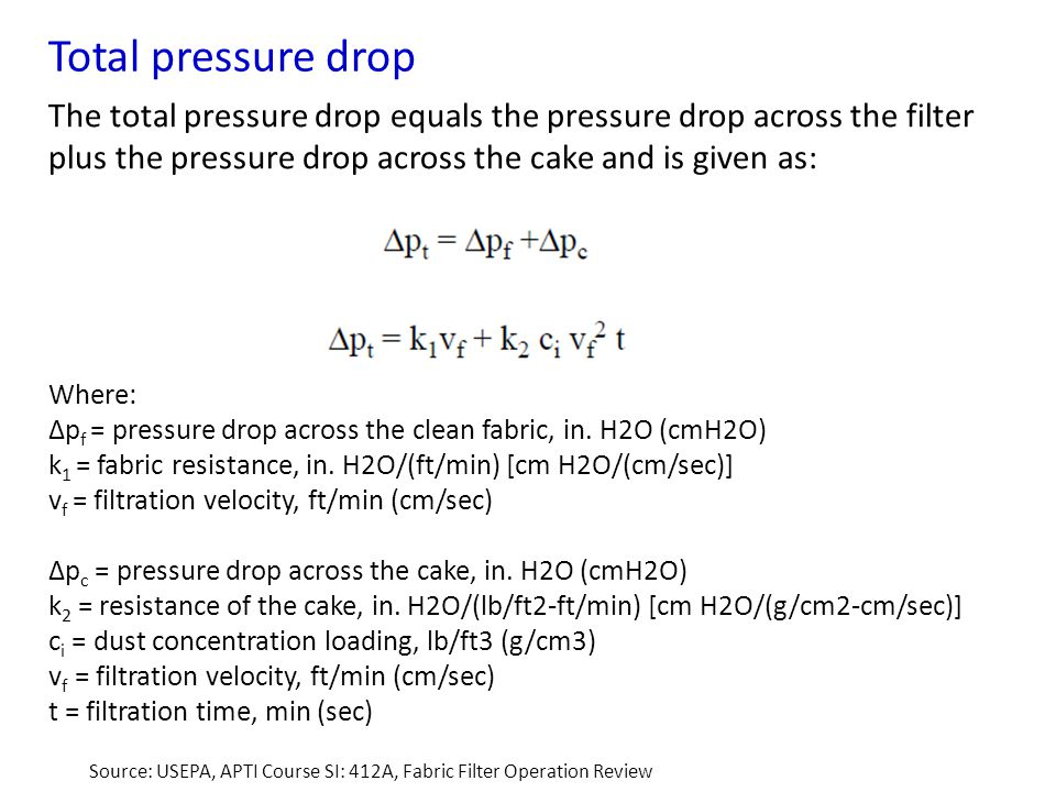 Total pressure drop The total pressure drop equals the pressure drop across the filter plus the pressure drop across the cake and is given as: