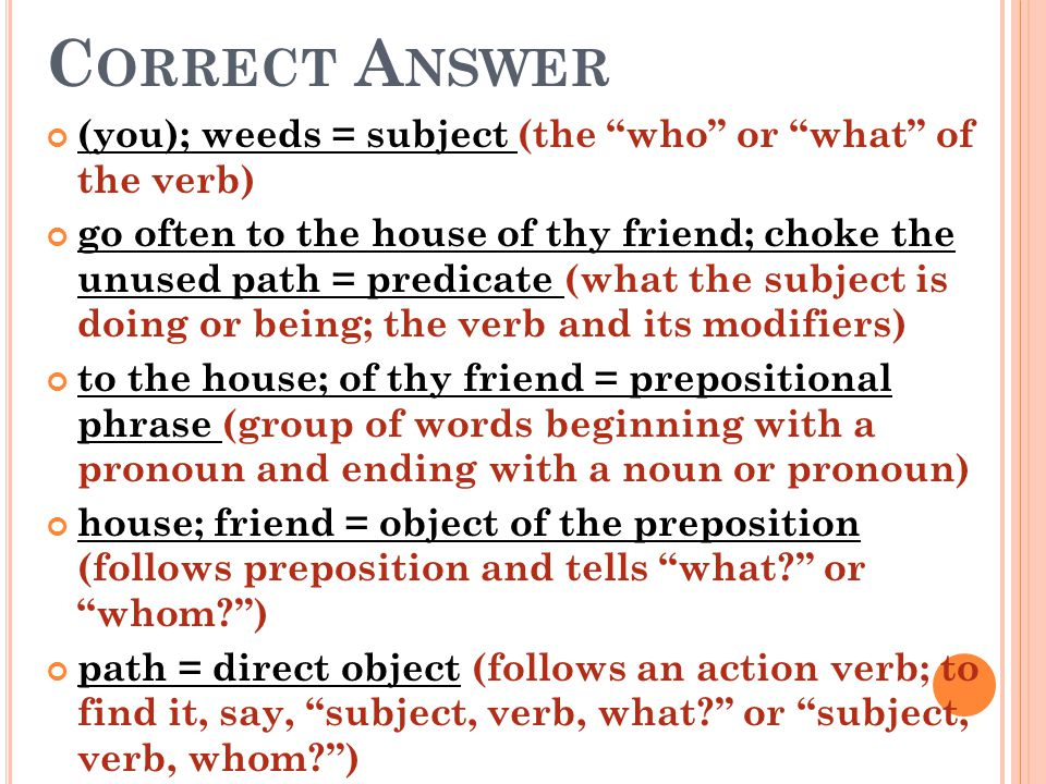 Correct Answer (you); weeds = subject (the who or what of the verb)