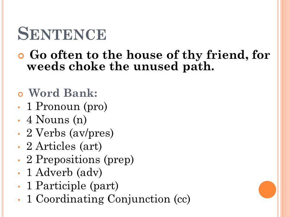 Sentence Go often to the house of thy friend, for weeds choke the unused path. Word Bank: 1 Pronoun (pro)