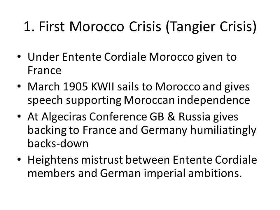 1. First Morocco Crisis (Tangier Crisis)