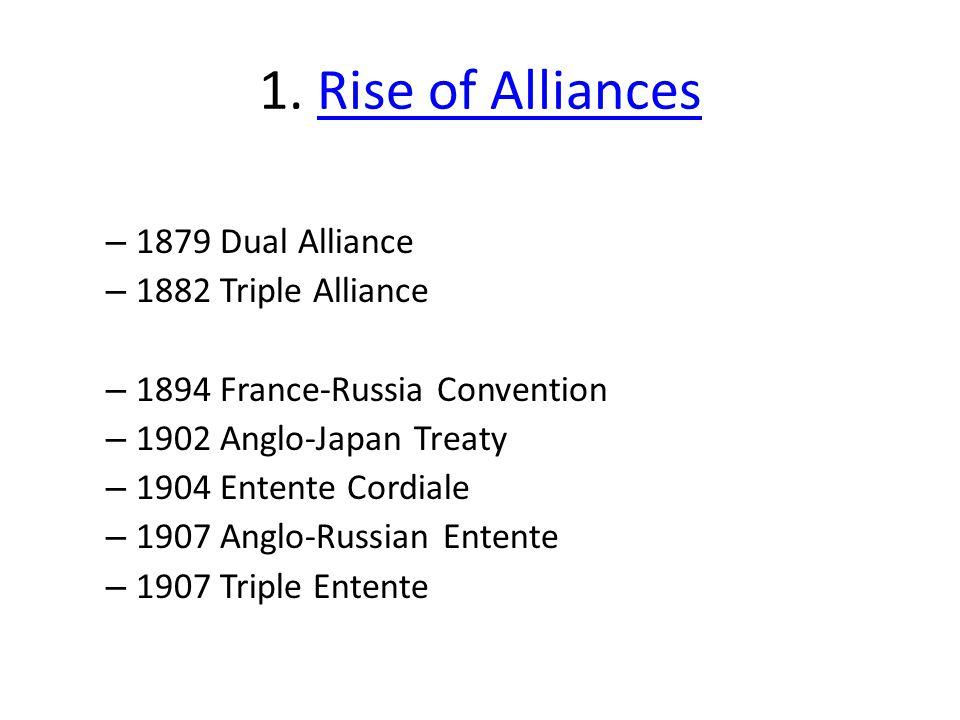 1. Rise of Alliances 1879 Dual Alliance 1882 Triple Alliance