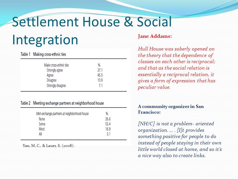Settlement House & Social Integration