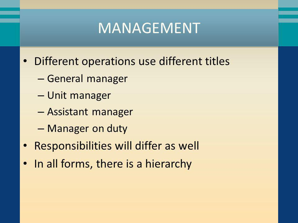 MANAGEMENT Different operations use different titles