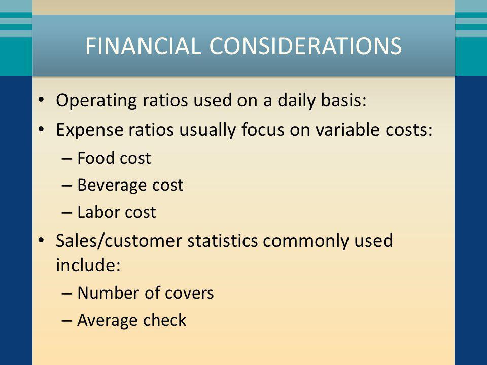 FINANCIAL CONSIDERATIONS