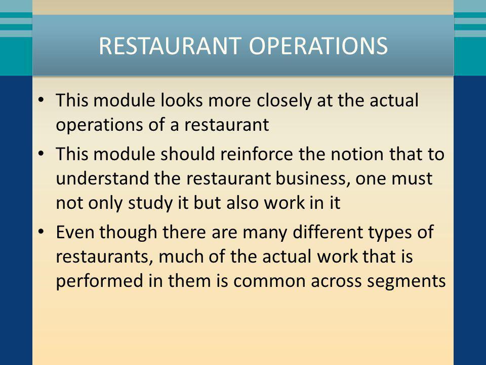 RESTAURANT OPERATIONS