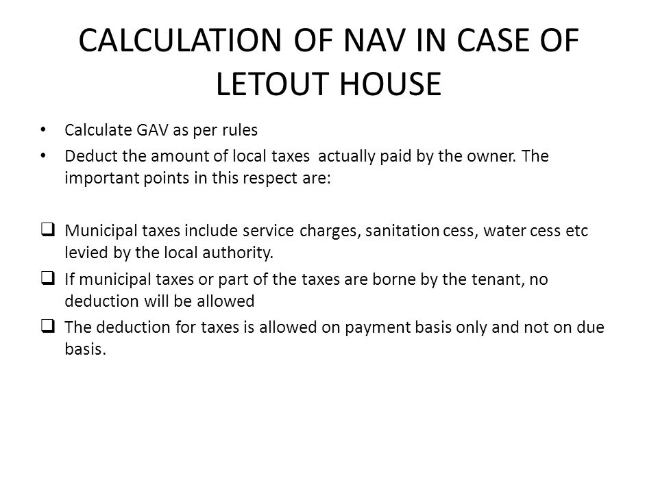 CALCULATION OF NAV IN CASE OF LETOUT HOUSE
