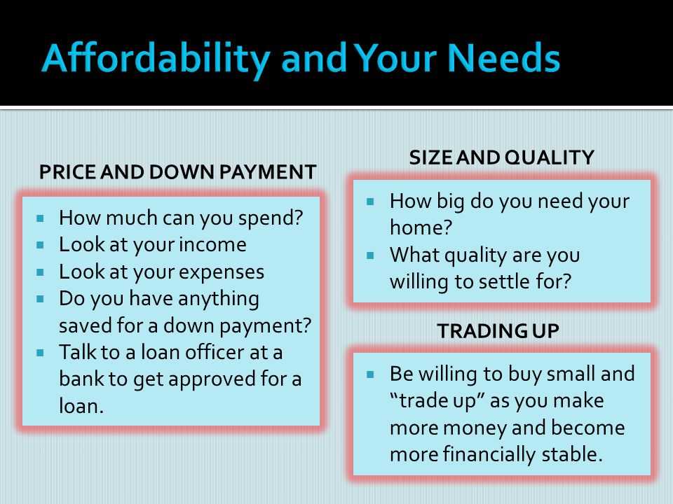 Affordability and Your Needs
