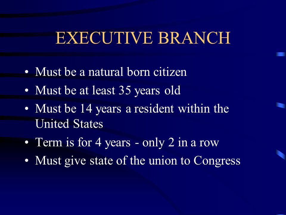 EXECUTIVE BRANCH Must be a natural born citizen