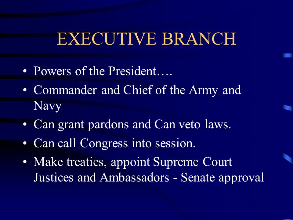 EXECUTIVE BRANCH Powers of the President….