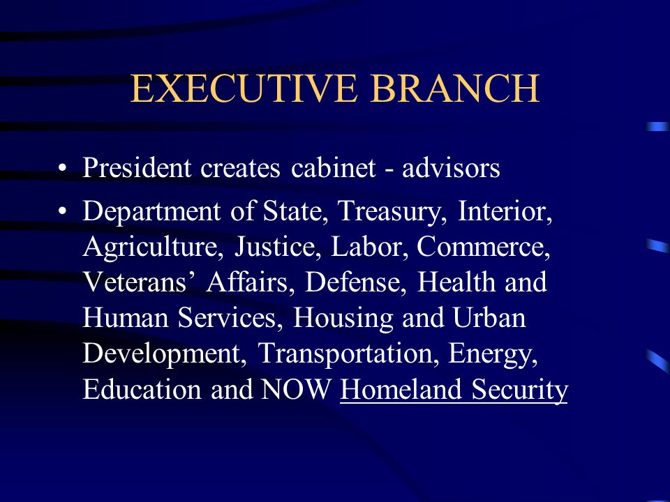 EXECUTIVE BRANCH President creates cabinet - advisors
