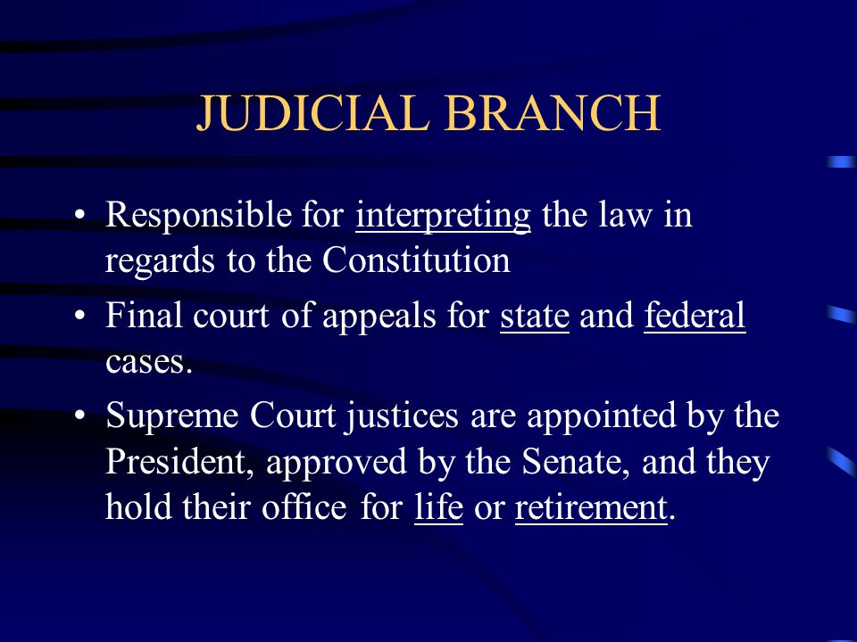 JUDICIAL BRANCH Responsible for interpreting the law in regards to the Constitution. Final court of appeals for state and federal cases.