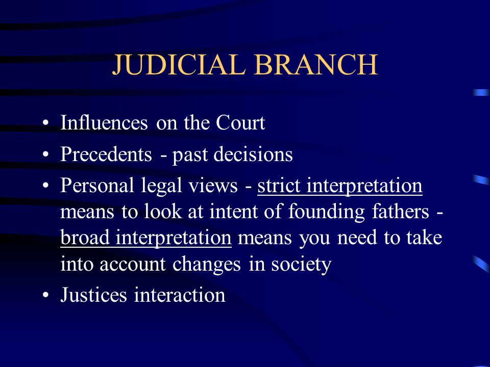 JUDICIAL BRANCH Influences on the Court Precedents - past decisions