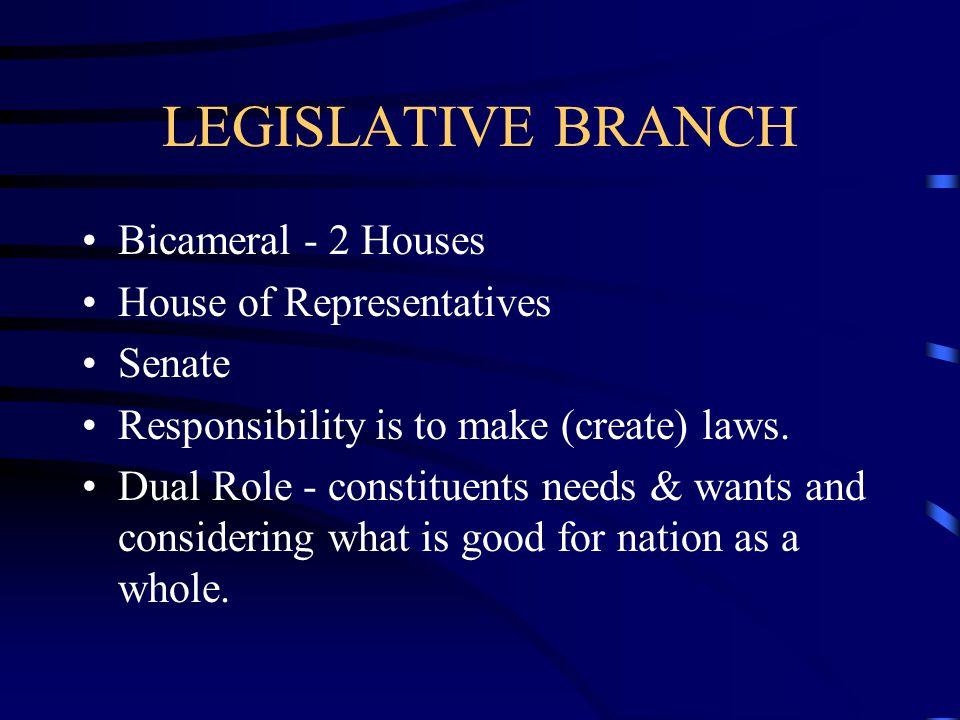 LEGISLATIVE BRANCH Bicameral - 2 Houses House of Representatives