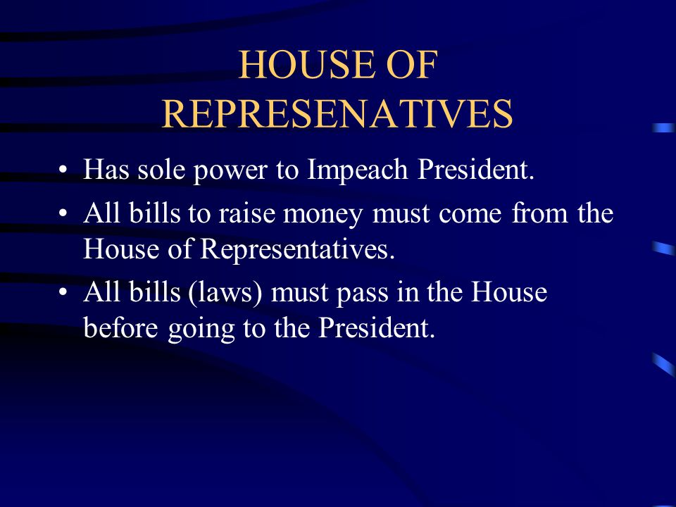 HOUSE OF REPRESENATIVES