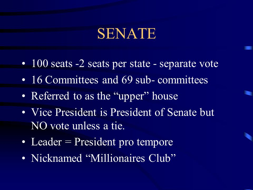 SENATE 100 seats -2 seats per state - separate vote