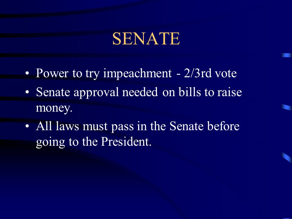 SENATE Power to try impeachment - 2/3rd vote