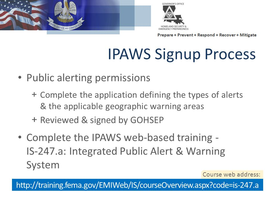 IPAWS Signup Process Public alerting permissions