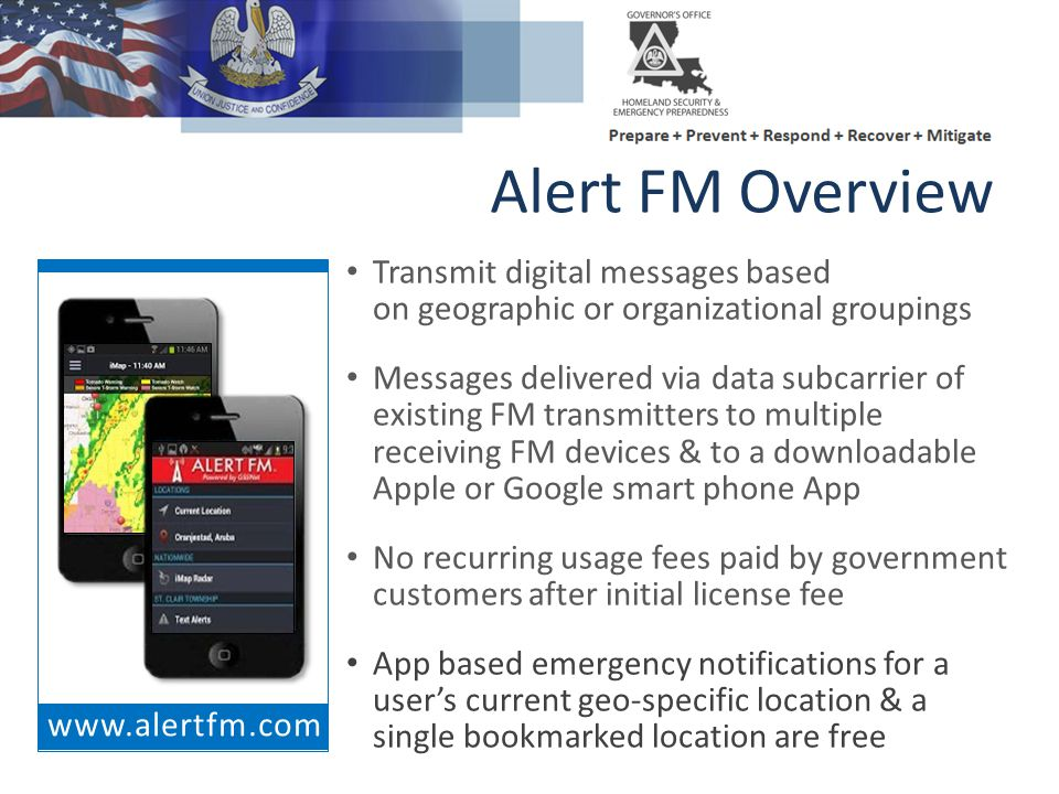Alert FM Overview Transmit digital messages based on geographic or organizational groupings.