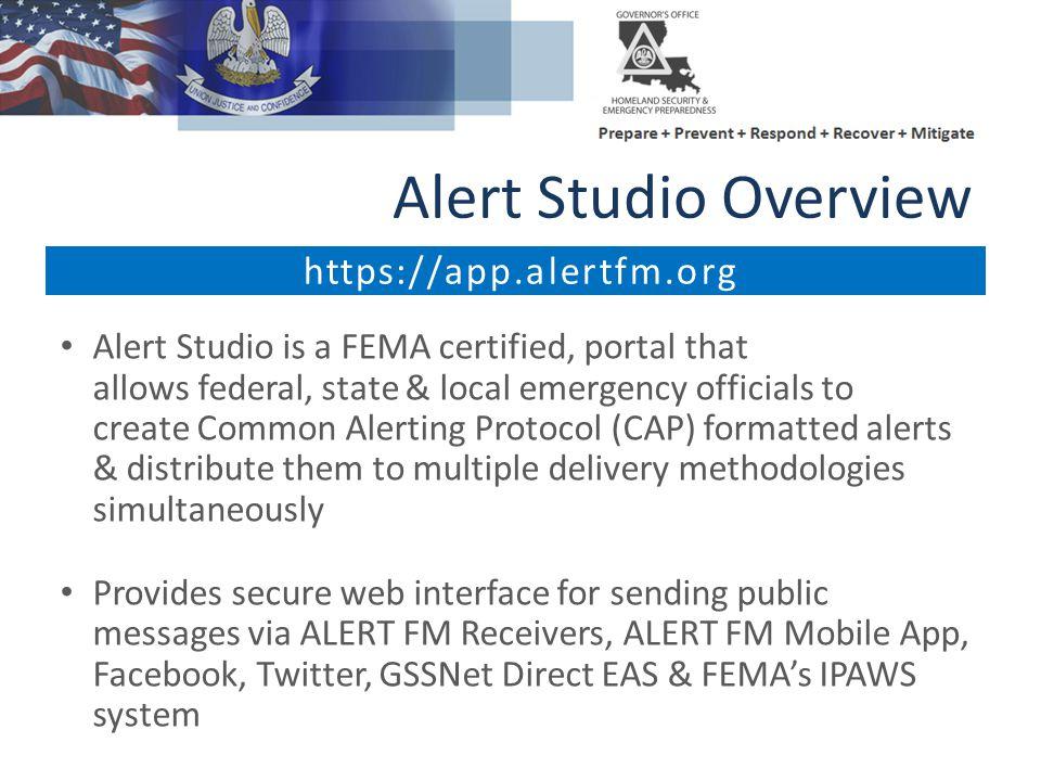 Alert Studio Overview https://app.alertfm.org