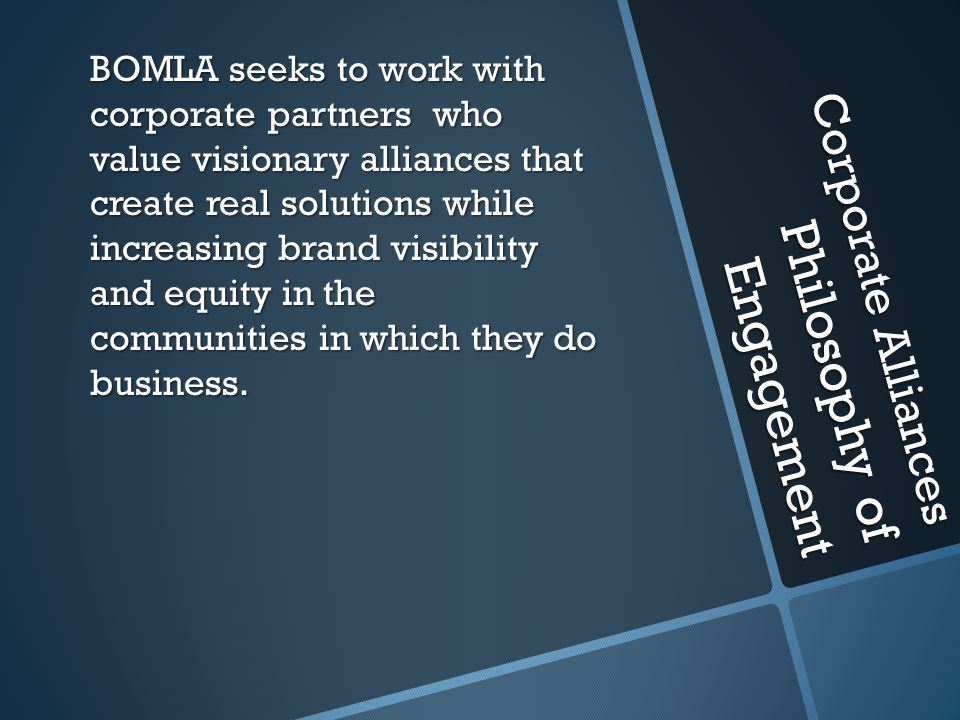 Corporate Alliances Philosophy of Engagement