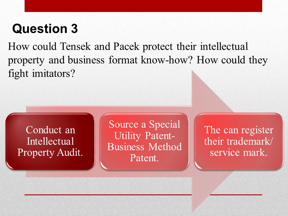 Question 3 How could Tensek and Pacek protect their intellectual property and business format know-how How could they fight imitators