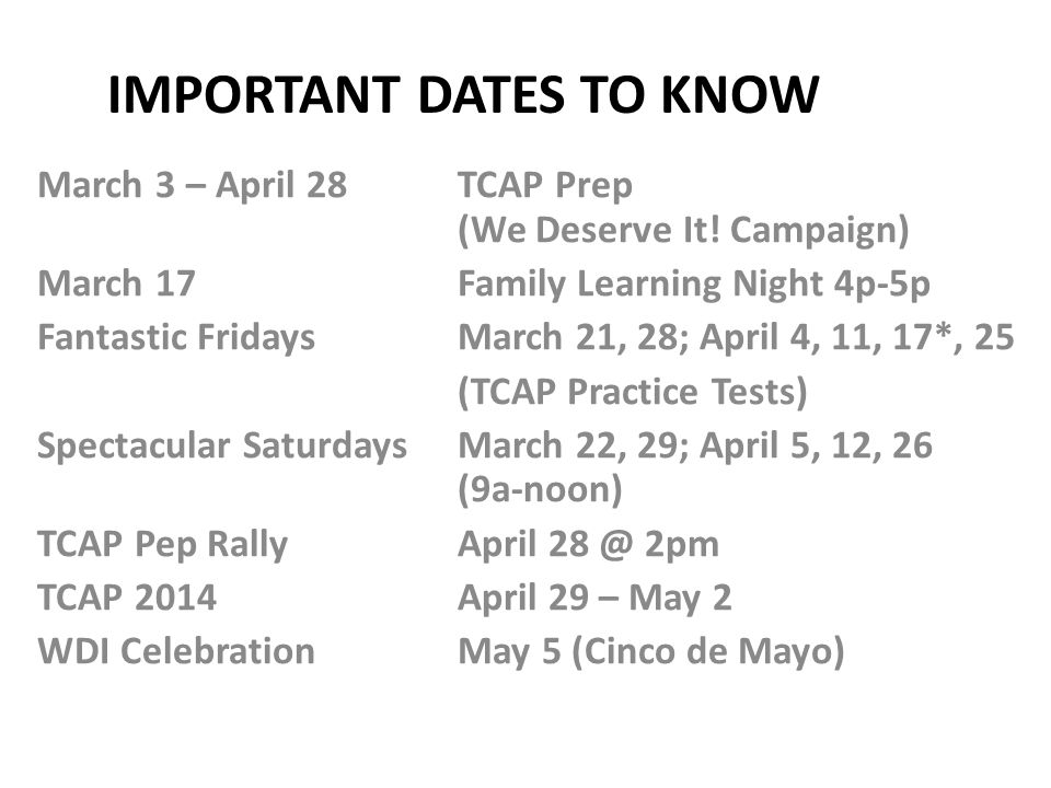 Important dates to know
