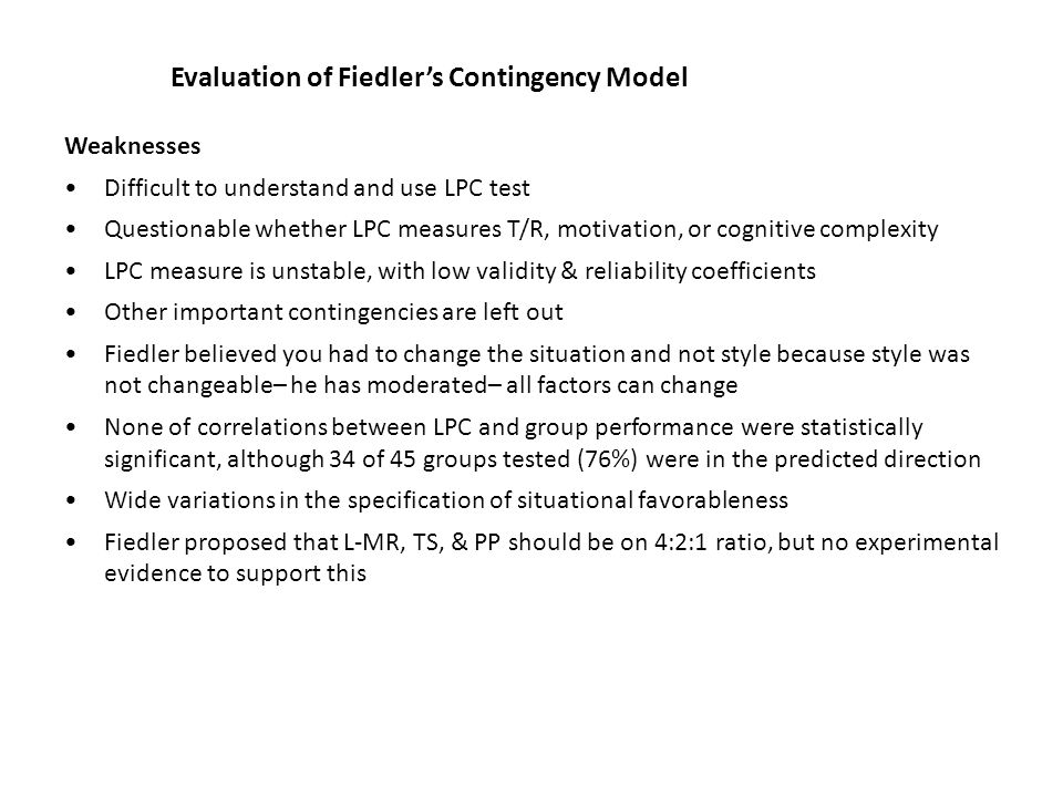Evaluation of Fiedler's Contingency Model
