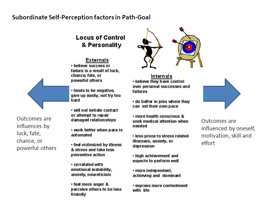 Subordinate Self-Perception factors in Path-Goal