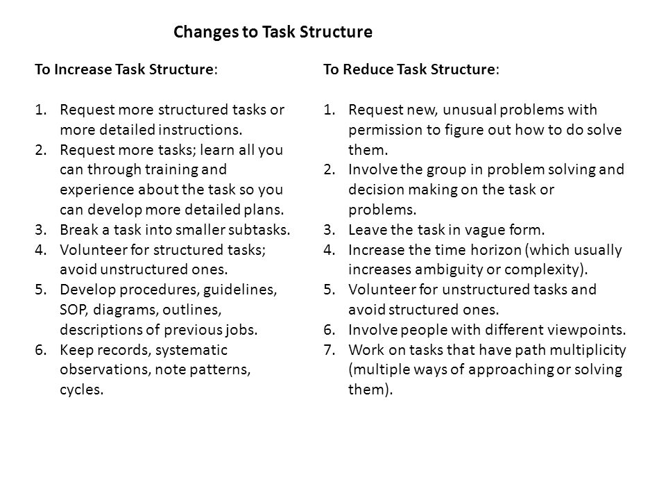 Changes to Task Structure