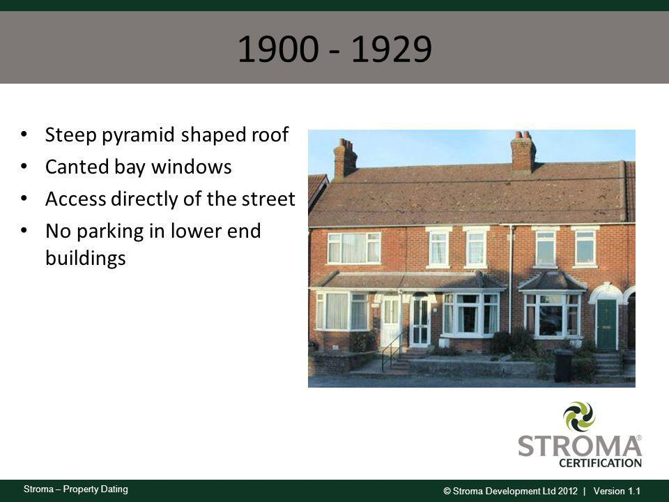 1900 - 1929 Steep pyramid shaped roof Canted bay windows