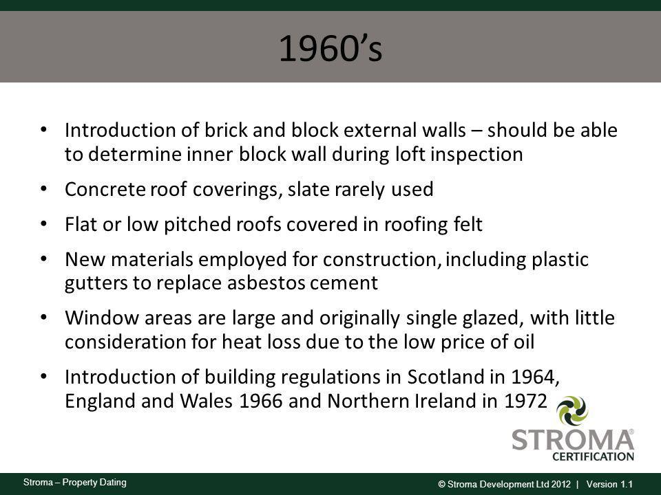1960's Introduction of brick and block external walls – should be able to determine inner block wall during loft inspection.