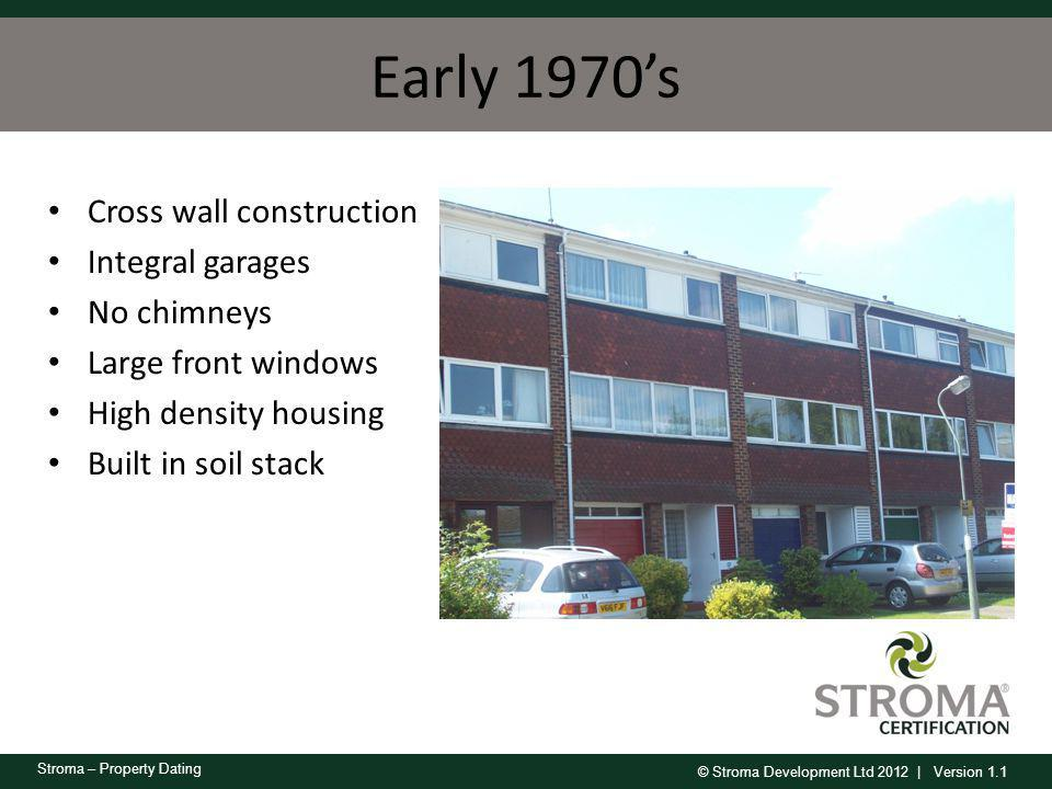 Early 1970's Cross wall construction Integral garages No chimneys