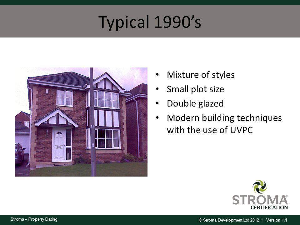 Typical 1990's Mixture of styles Small plot size Double glazed