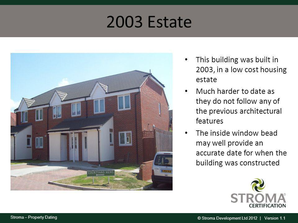 2003 Estate This building was built in 2003, in a low cost housing estate.