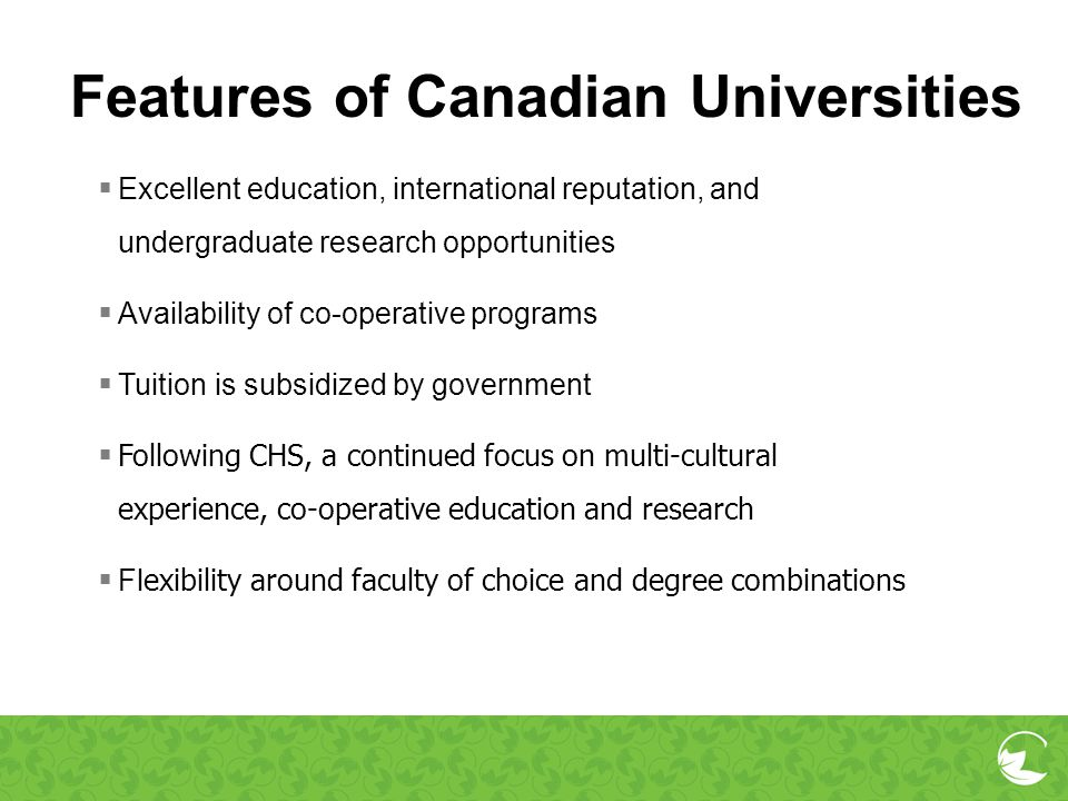 Features of Canadian Universities