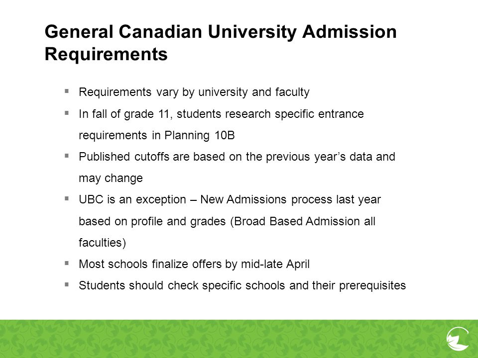 General Canadian University Admission Requirements