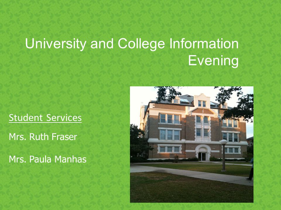 Crofton House University Evening University and College Information Evening