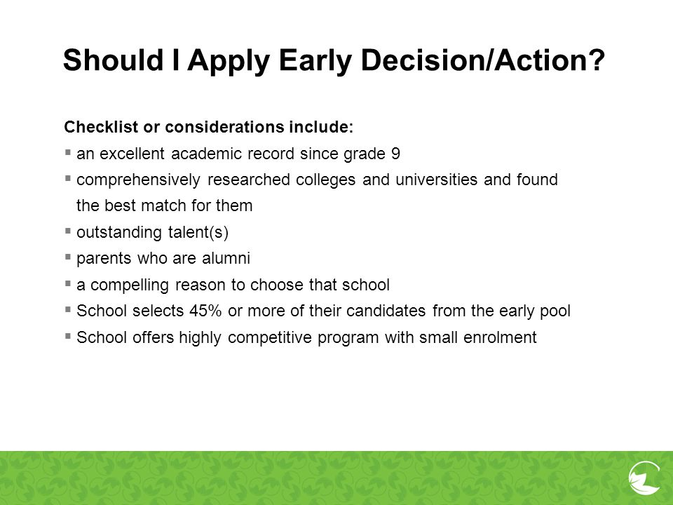 Should I Apply Early Decision/Action